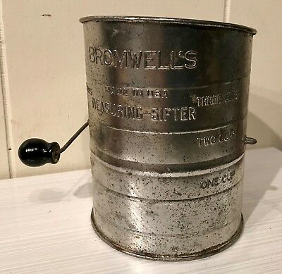 Vintage Bromwell's Three Cup Measuring Sifter Flour Made in USA Working Clean
