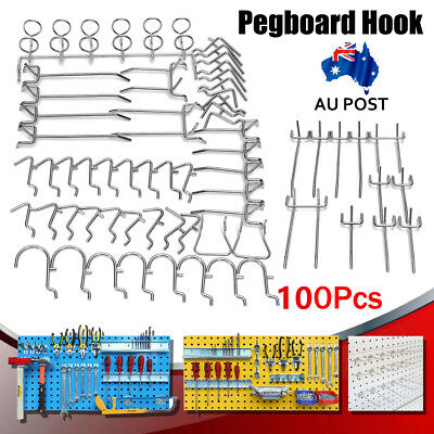100 Pieces Metal Shop Display Hangers Grid Wall Pegboard-Hook Storage Shelf Tool