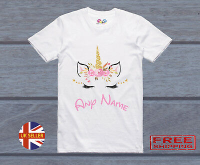 Personalised Name Summer Unicorn Eyes Gold T-Shirt Childrens Kids T Shirt Girls
