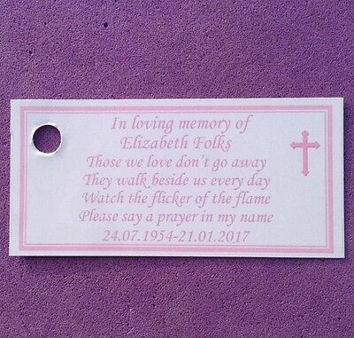 25 x Personalised Memorial, candle Favour Tags, Lables, In Loving Memory