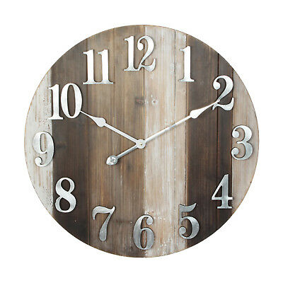 Hometime Large Round Wooden Wall Clock Metal Numbers