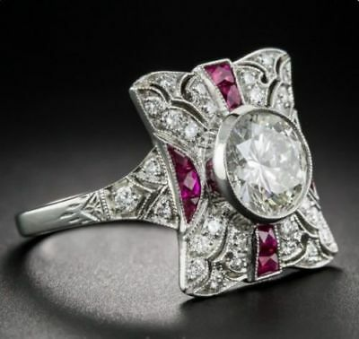 Art Deco Antique Vintage Victorian cocktail engagement ring 1.78 ct off white
