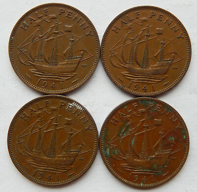 "1941 UK / Great Britain Half Penny Coin ""Lot of 4 Coins""  SB5077"