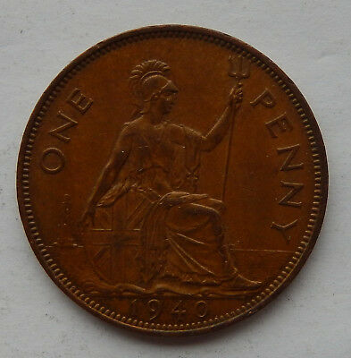 "1940 UK / Great Britain One Penny Coin KM#845 ""Higher Grade Coin""    SB5119"