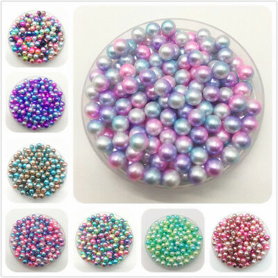 4 6 810mm Rainbow No Hole Imitation Pearls Round Beads DIY Jewelry Making