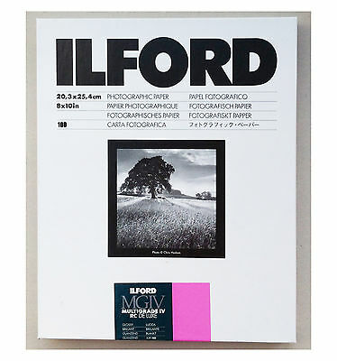 "Ilford Multigrade IVRC De Luxe Glossy Black & White 10x8"" 20.3x25.4cm 100 sheet"