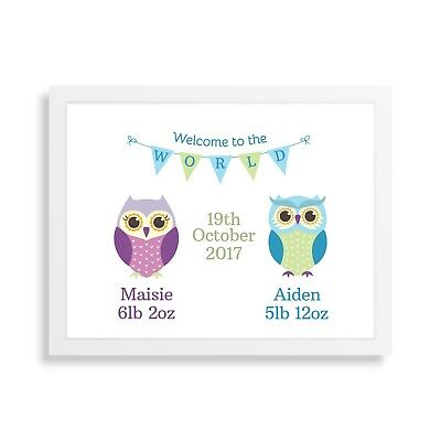 Personalised New Birth Twins Baby Print Boy Girl Christening Wall Art Gift