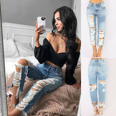Womens Girls Stretch Frayed Ripped Skinny Ladies Denim Pants Trousers Jeans 6-18