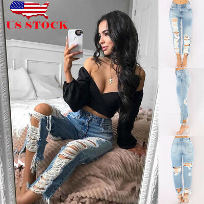 US Womens Skinny Ripped Destroyed Jeans Stretchy Denim Pants Jeggings Trousers