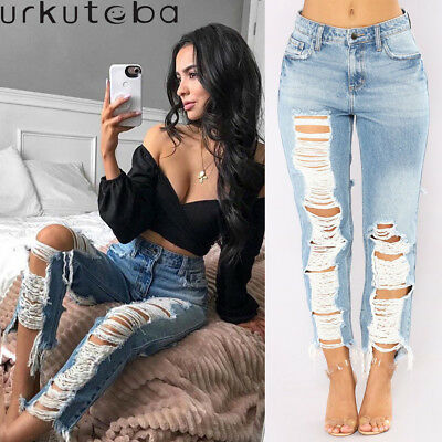 Urkutoba Womens High Waist Skinny Pants Ripped Knee Jeans Stretch Celeb Trousers