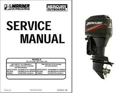 Mercury / Mariner 70 75 80 90 100 115 2-Stroke Outboard Motor Service Manual CD