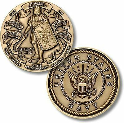 NEW U.S. Navy Armor of God High Relief Challenge Coin. 49039
