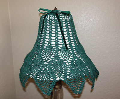 """Vintage Hand Made Hand Crochet Doily Lamp Shade Cover Hunter Green Up to 12"""""""