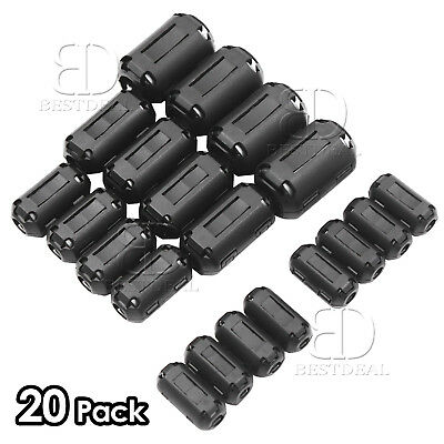 Choke Coil RFI EMI Noise Suppressor Ring Core Snap Cable Clip Ferrite Bead 20Pcs