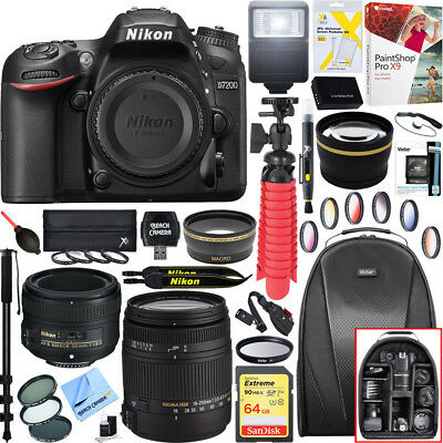 Nikon D7200 DX-Format 24.2MP Digital HD-SLR Body + 18-250mm and 50mm Lens Bundle