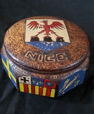 "Antique French hand carved wooden box ""Nice"" with hand carved Coat of Arms"