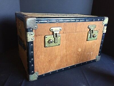 Antique Vintage Wooden Chest Trunk with Papered Interior
