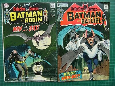 Two DETECTIVE COMICS: no's 402 & 407 - Man Or Bat! & The Bride Of Man Bat!