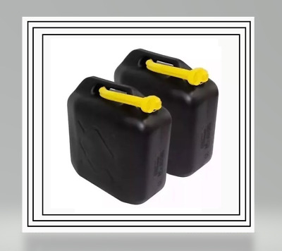 2 X 20L Black Plastic Fuel Jerry Can Petrol Diesel Water 20 Litre With Spout New