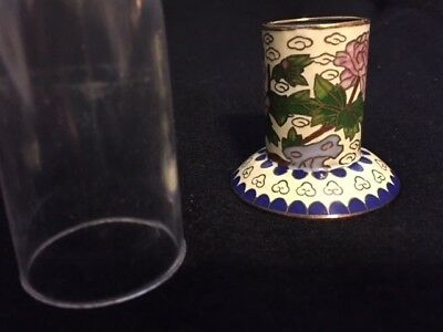 Vintage Cloisonne Candle/Toothpick? Holder* Asian Chrysanthemum White/Blue/Pink