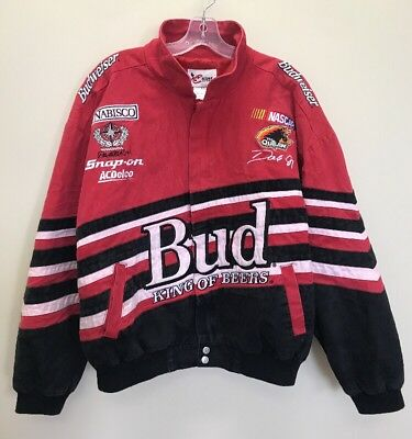 Vintage Chase Authentics Nascar Budweiser Spell Out Racing Jacket Red Black Sz L