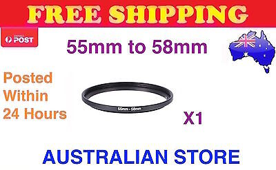 New 55-58mm 55mm - 58mm Metal Step Up Lens Filter Ring Adapter 55mm Step-Up