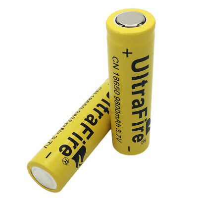 2X 18650 Li-ion Rechargeable Battery 3.7V 9800mAh Flat Top for Flashlight Torch