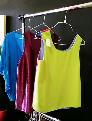 Lot of 3 top blouses, one multicolor, purple and cobalt blue. Size M to L 6 to 8