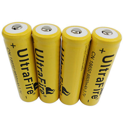 4X 3.7V 18650 9800mAh Li-ion Rechargeable Battery for Flashlight Torch Lantern