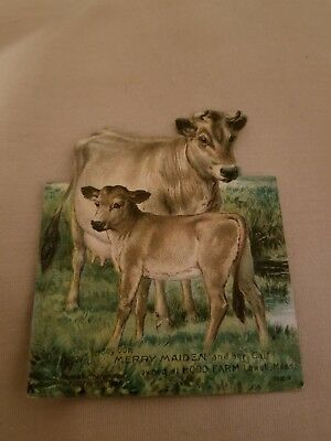 1800s Trade card stand up standee hoods sarsaparilla Merry Maiden Jersey cows