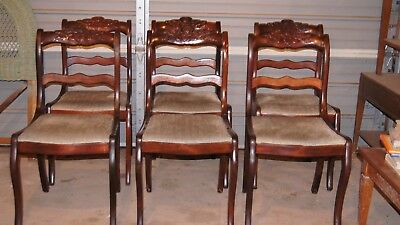 1930 Duncan Phyfe Antique Mahogany Rose Back Chairs (6) w/ Table Vintage