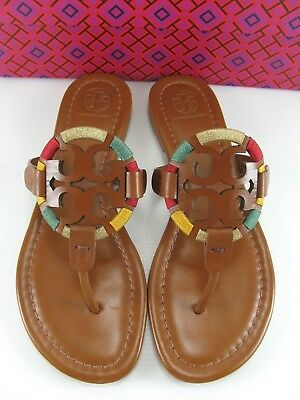 34a5d0632593 NWB TORY BURCH Miller Embroidered Leather Thong Sandal Tan Size 10 ...