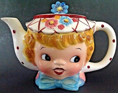 Vintage Miss Dainty Lefton Teapot Girl Face #321 Made in Japan Mid Century