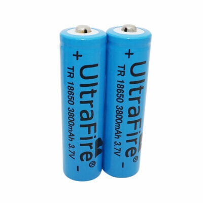 2X 18650 Batteries 3800mAh Li-ion Rechargeable Battery 3.7V for Flashlight Torch