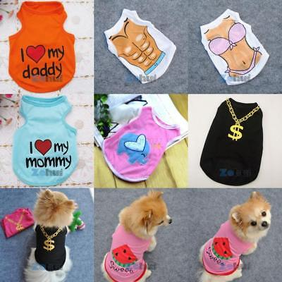 US Summer Small Dog Cat Clothes Vest Tops Pet Puppy Doggy T-shirt Coat Costume
