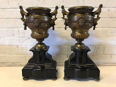 Antique 19th Cent. Egyptian Revival Pair of Bronze Slate / Marble Garniture Urns