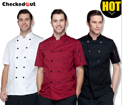 New Chef Apparel Unisex Short Sleeve Chef Jacket Coat Restaurant Cook Uniform