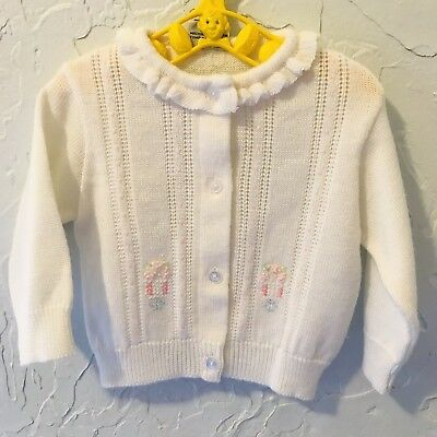 Vintage Infant Girl Knitted Cardigan Sweater 3/6 Months Flowers Free Shipping