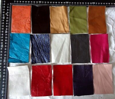 Brand New 15 piece GENUINE LEATHER SCRAPS, OFF CUTS for CRAFTS & HOBBIES -Lot A8