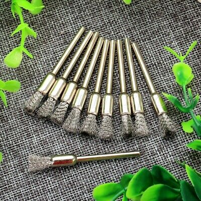 HQ 6mm Pen Brushes Stainless Wire Drill End Polishing 3mm Shank Rotary Tool