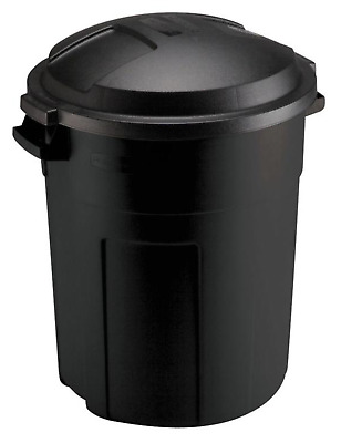 20 Gallon Black Round Trash Can Waste Bin Container Lid Roughneck Heavy Duty New