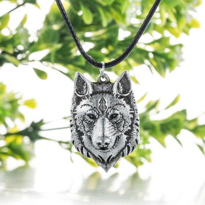 Wolf Head Necklace Pendant Animal Power Norse Viking Amulet Necklaces