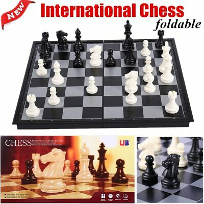 Mini-Set International Chess Black & White with Folding Chess Board 4812-B F7
