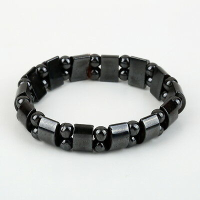Fashion Black Magnetic Hematite Healing Mens Womens Loose Beads Bracelet BP