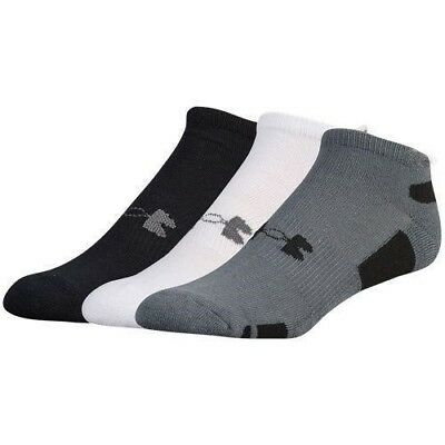 quality design 05f2b beedb Under Armour Men s No Show Socks 3 Pair Pack Large Black Grey White  Heatgear New