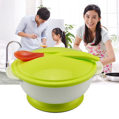 Toddler Baby Feeding Eating Food Non-slip Two-handed Sucker Bowl + Spoon FK