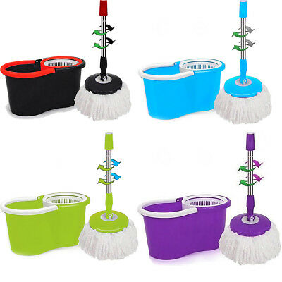 360° Floor Magic Spin Mop Bucket Set With 2 Free Microfiber Rotating Dry Heads