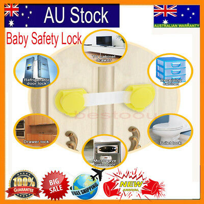 10xChild Adhesive Kids Baby Safety Lock Door Drawers Cupboard Cabinet-OZ Stock V
