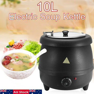 400W 10L Stainless Steel Soup Kettle Electric Bolier Black 98°C Max  Restaurant