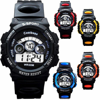 New Waterproof Children Boys Sports Watch LED Digital Alarm Backlight Wristwatch